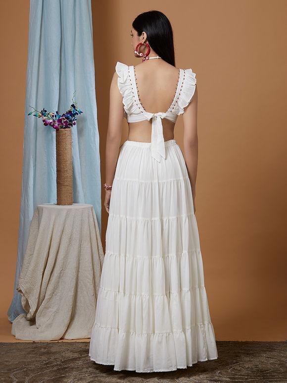 White Cotton Georgette Lehenga - Set of 3