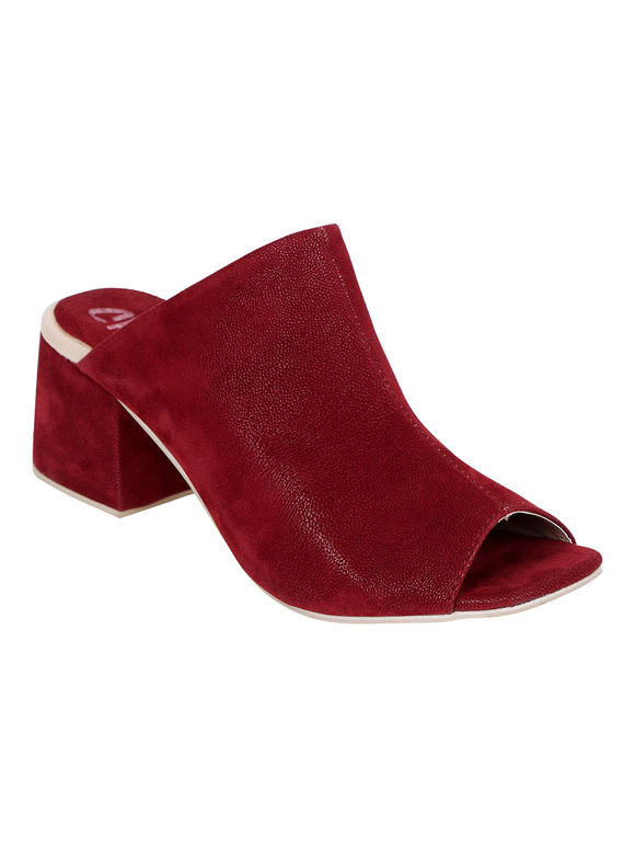 Maroon Leather Ella Block Heels