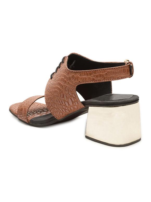 Tan Faux Leather Block Heels