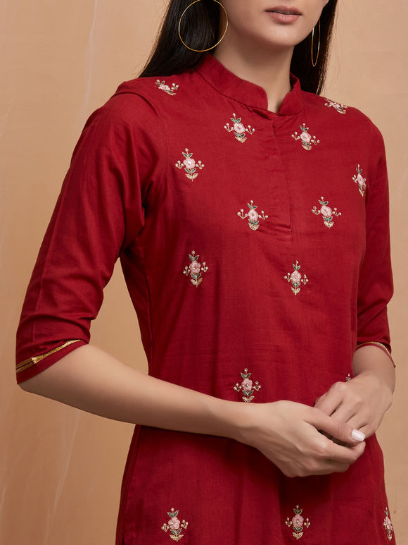 Maroon Hand Embroidered Cotton Kurta