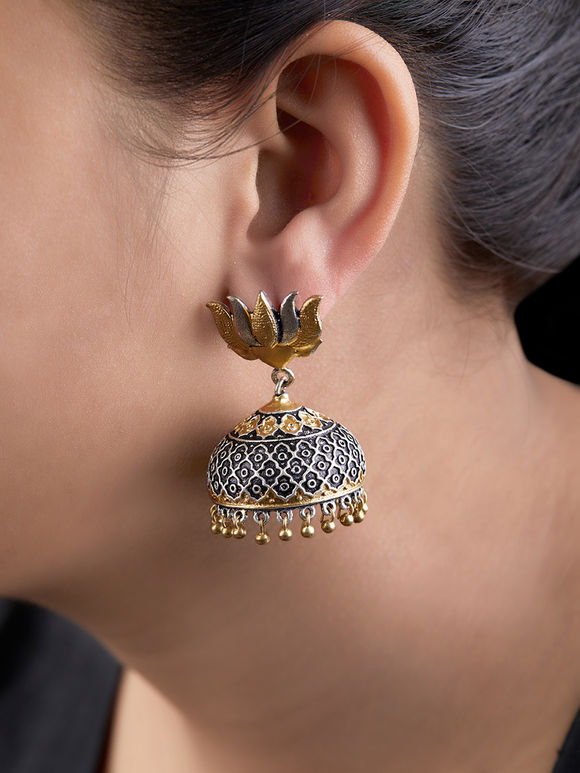 Dual Toned Handcrafted Lotus Brass Jhumkies