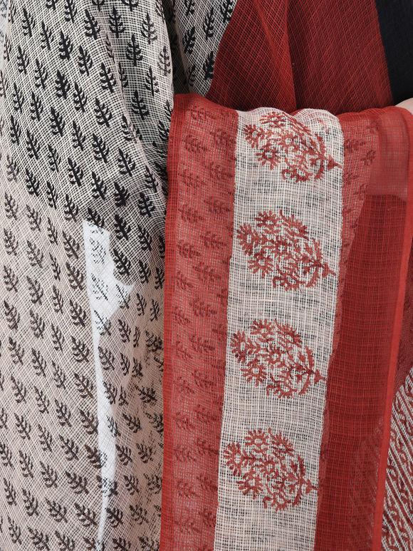Black Red Hand Block Printed Cotton Saree