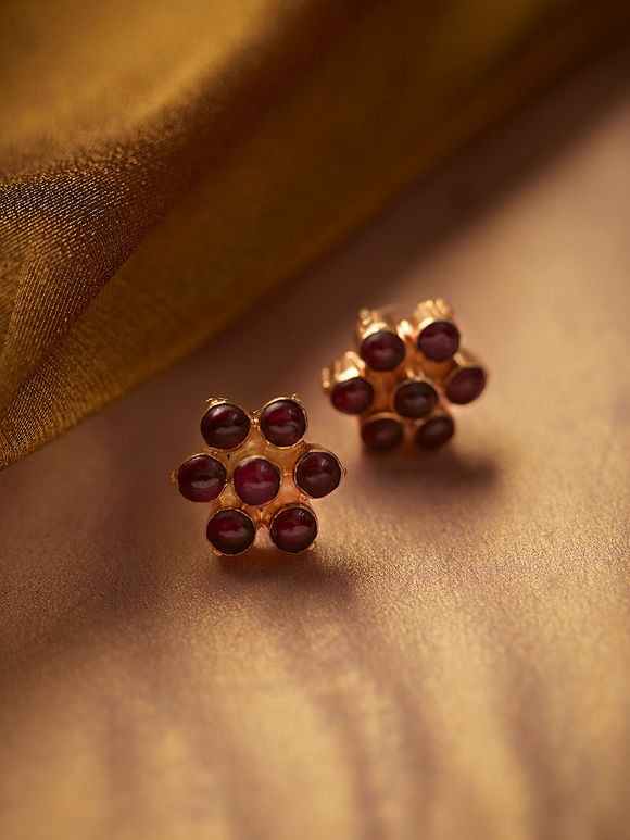 Gold Plated Maroon Handcrafted Silver Stud Earrings