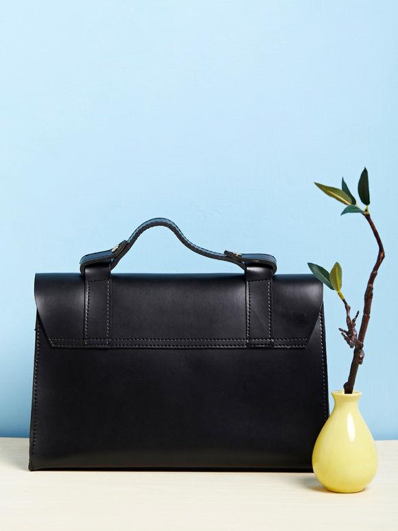 Black Faux Leather Satchel Sling Bag