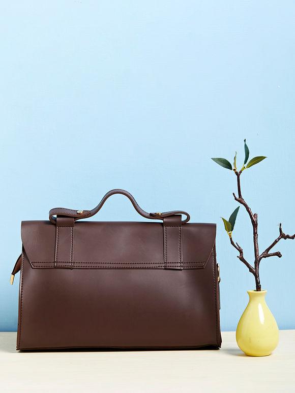 Brown Faux Leather Satchel Sling Bag