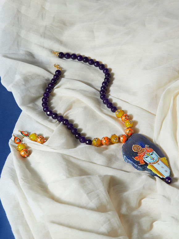 Blue Natural Stone Handpainted Necklace with Earrings