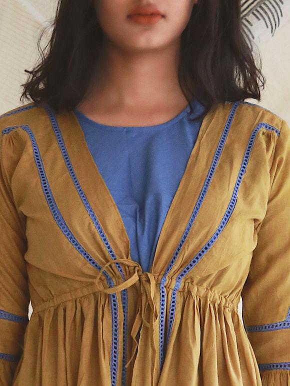 Blue Mulmul Slip with Mustard Yellow Jacket- Set of 2