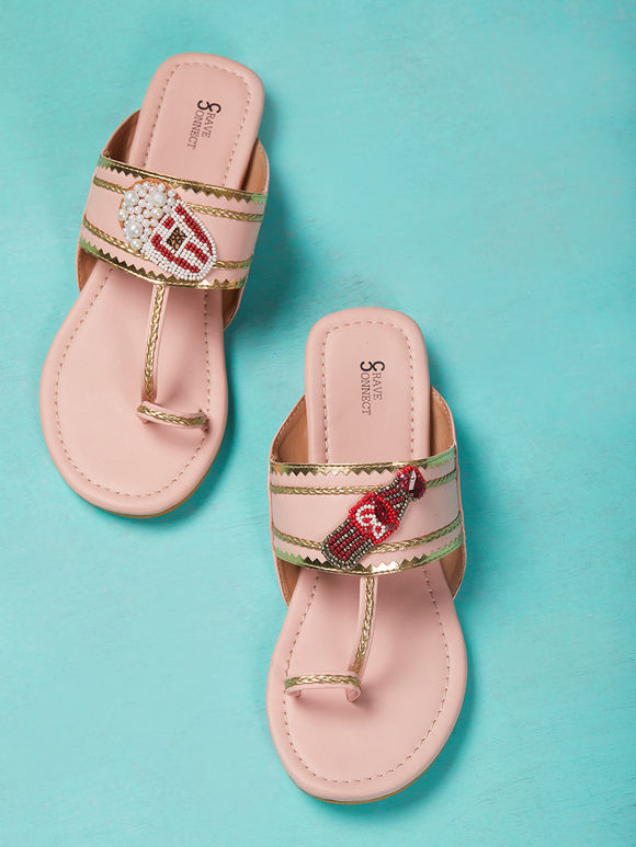 Pastel Pink Hand Embroidered Leather Kolhapuris