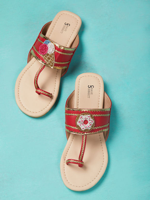 Ivory Red Hand Embroidered Leather Kolhapuris