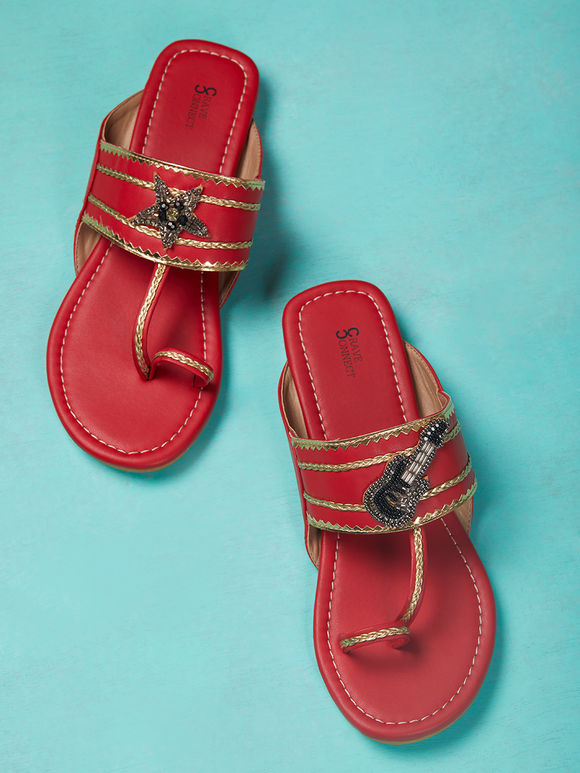Red Hand Embroidered Leather Kolhapuris