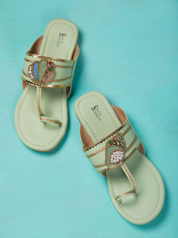 Mint Green Hand Embroidered Leather Kolhapuris