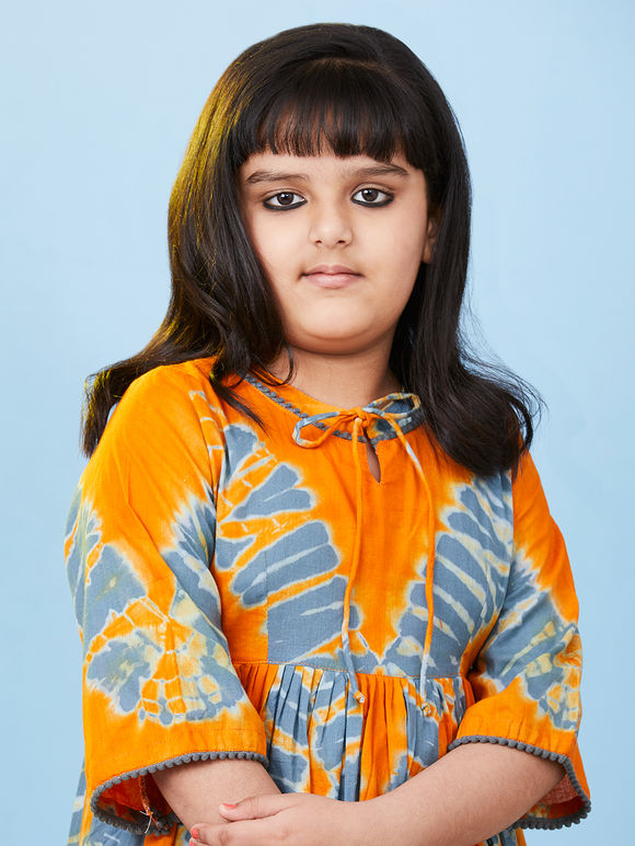 Orange Grey Tie and Dye Cotton Dress