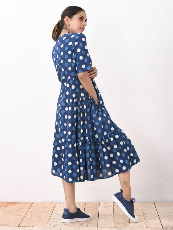 Blue Hand Block Printed Cotton Dress