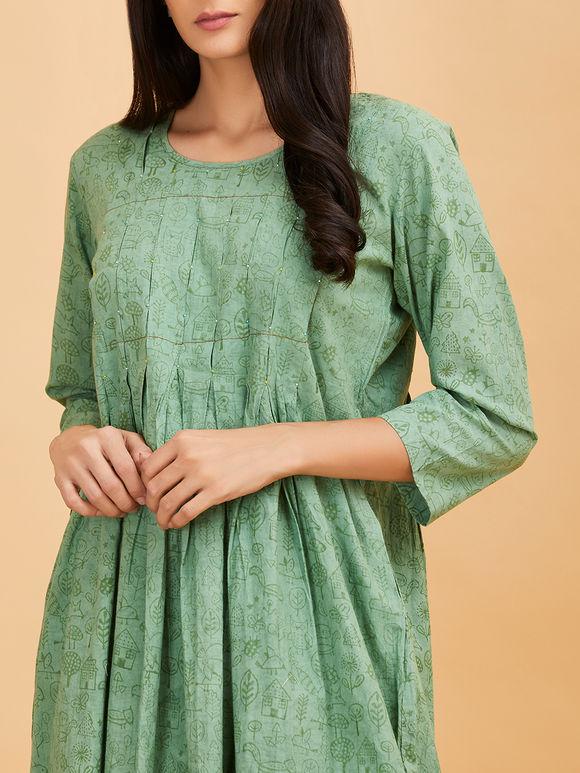 Mint Green Hand Block Printed Parrot Applique Work Cotton Dress