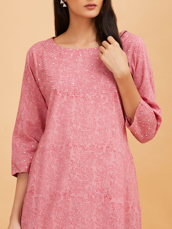 Pink Hand Block Printed Poppy Applique Work Cotton Kurta