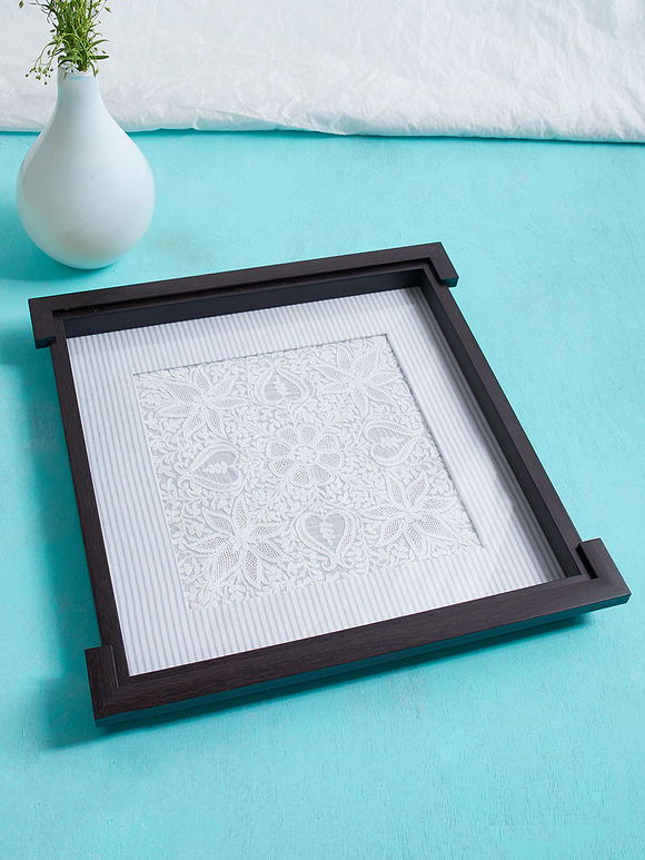 White Brown Chikankari Double Frame Wood Tray