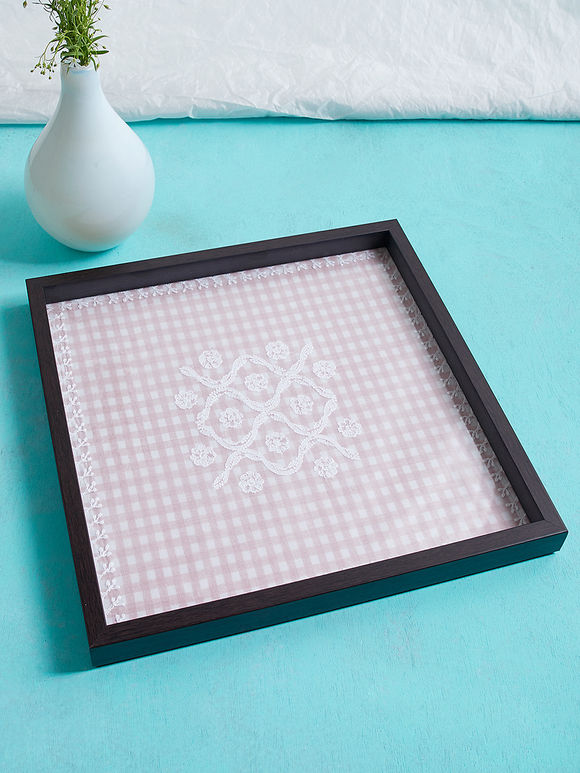 Pink Brown Chikankari Square Wood Tray