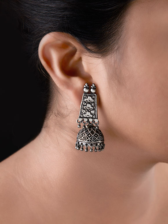 Silver Toned Handcrafted Brass Rajwadi Earrings