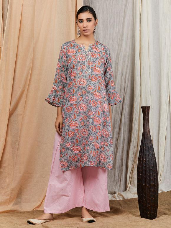 Grey Pink Hand Block Printed Cotton Kurta with Palazzo and Chiffon Dupatta - Set of 3