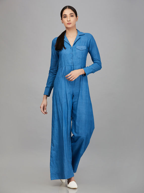 8a93de4f0fb Blue Khadi Jumpsuit