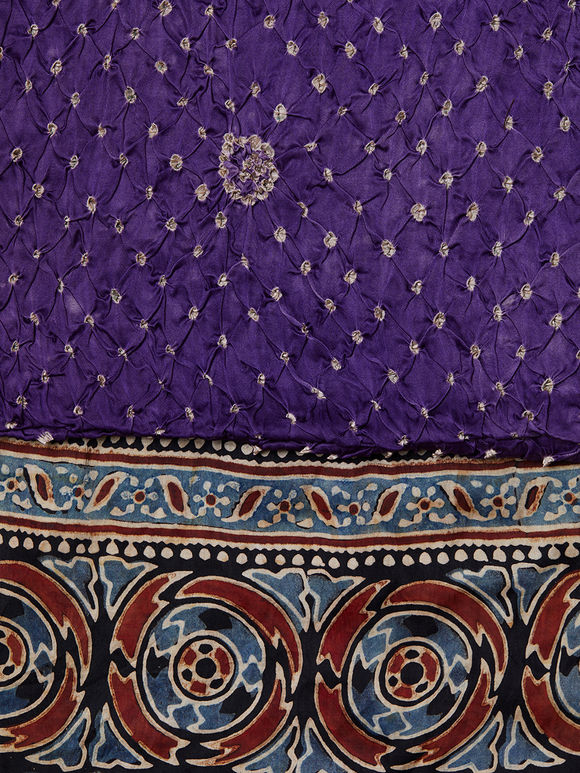 Purple Bandhani Block Printed Modal Silk Dupatta