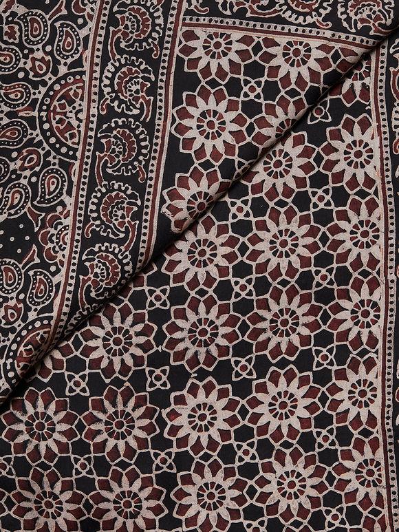 Beige Black Ajrakh Hand Block Printed Modal Silk Dupatta