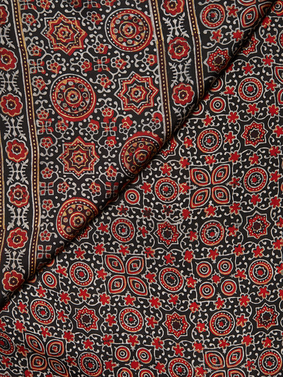Brown Black Ajrakh Hand Block Printed Modal Silk Dupatta