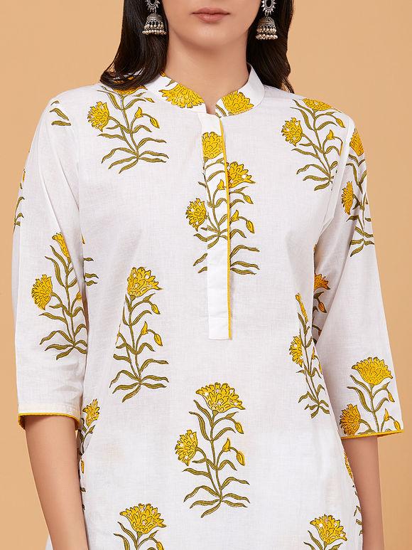 White Yellow Hand Block Printed Cotton Kurta