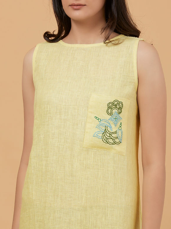 Yellow Hand Embroidered Linen Dress