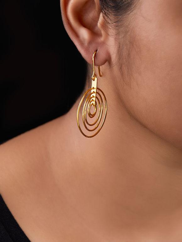 Gold Toned Geometric Circular Brass Earrings