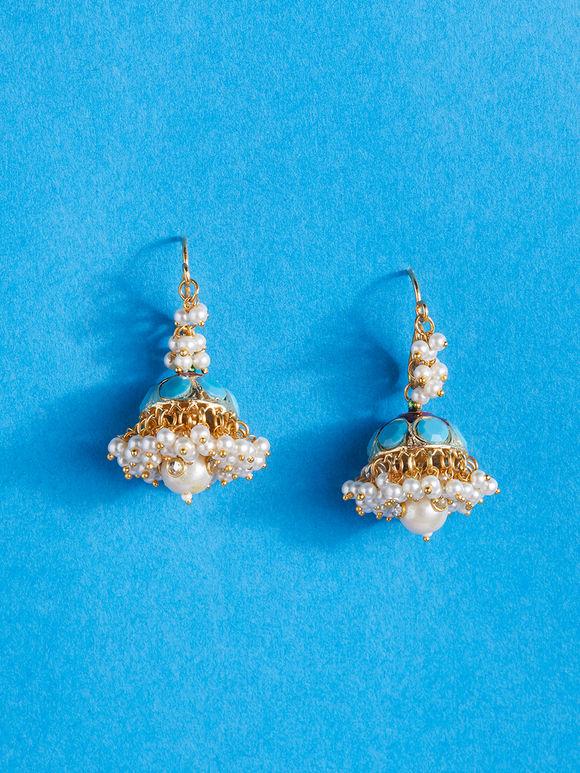 Gold Toned Turquoise Pearl Jadau Brass Jhumkies