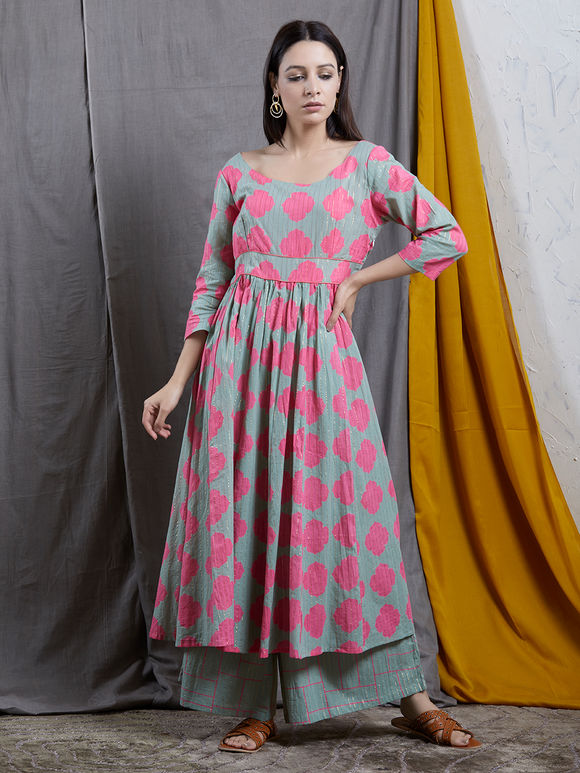 Grey Pink Printed Cotton Anarkali Kurta
