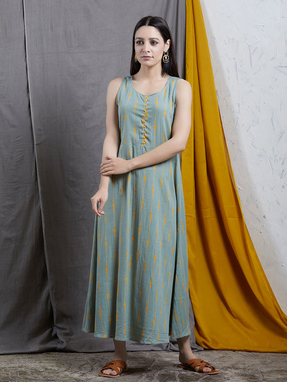 Green Yellow Printed Cotton Dress