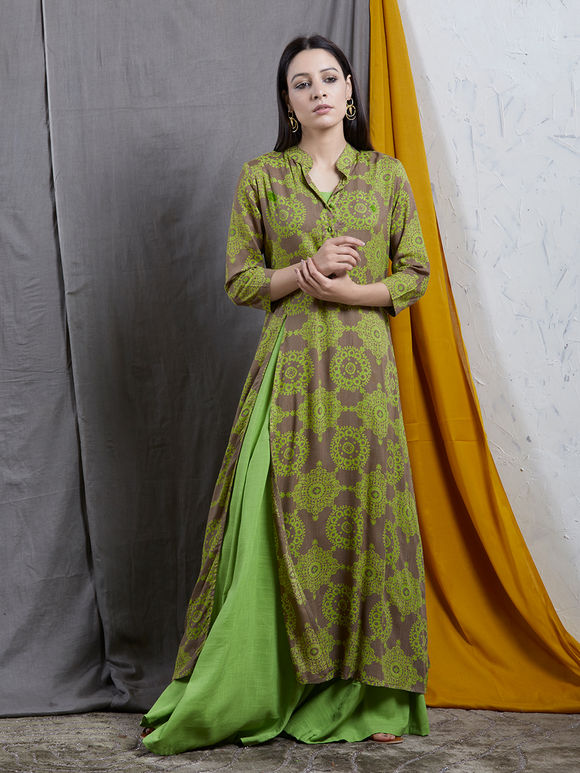 Green Brown Printed Rayon Dress with Inner - Set of 2