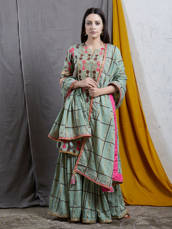 Green Cotton Checkered Dupatta