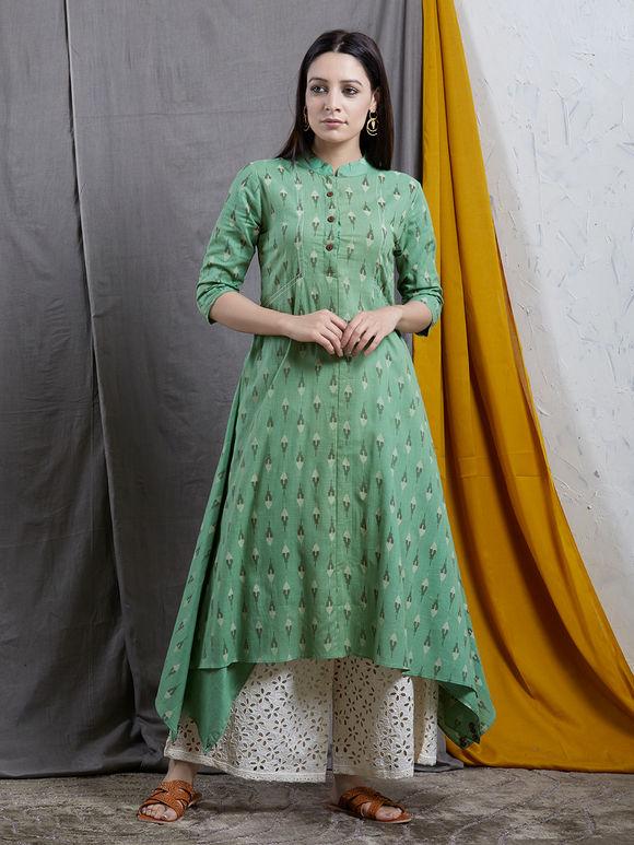 Green Cotton Ikat Asymmetric Kurta with White Palazzo - Set of 2