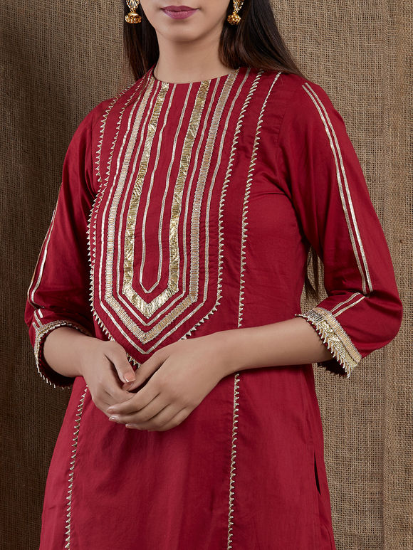 Maroon Hand Embroidered Cotton Gota Kurta