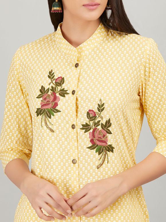 Yellow Block Printed & Embroidered Cotton Kurta with Off White Chanderi Silk Palazzo - Set of 2