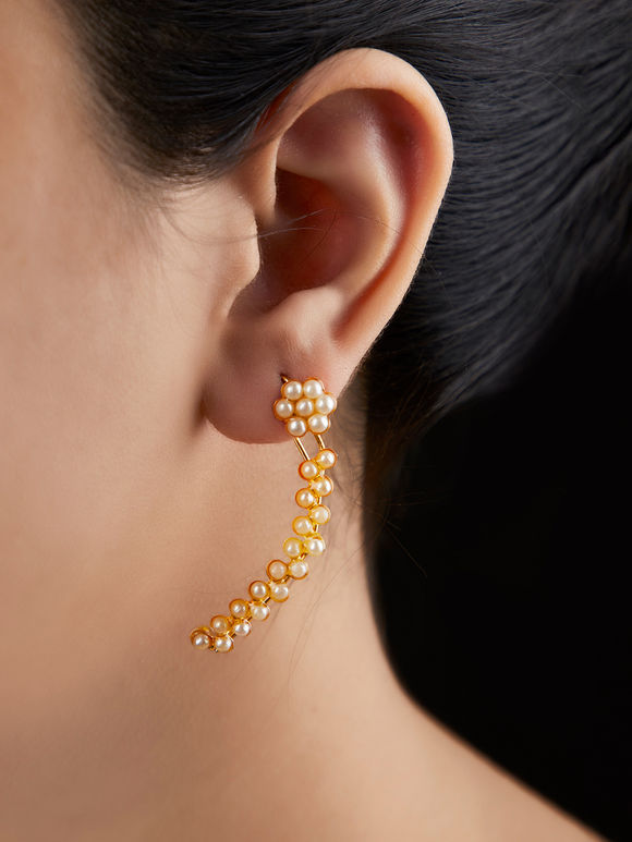 Gold Plated Handcrafted Brass Pearls Hooks Earrings