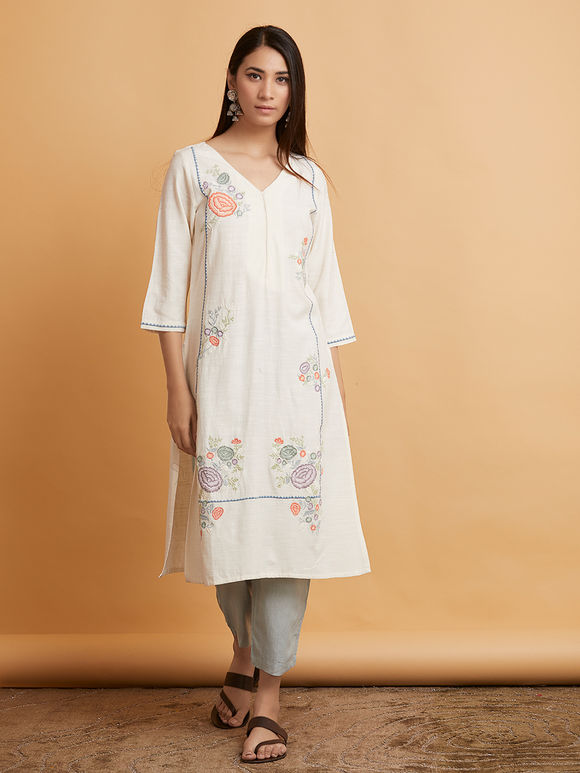 Ivory Embroidered Linen Kurta with Pastel Green Pants and Powder Blue Silk Dupatta - Set of 3