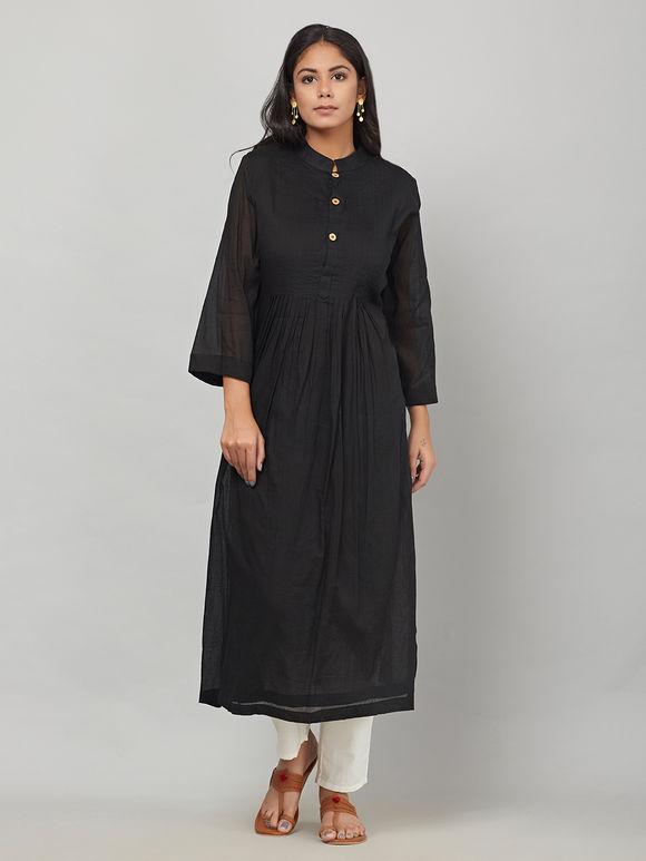 Black Cotton Mulmul Kurta with White Tie and Dye Dupatta - Set of 2
