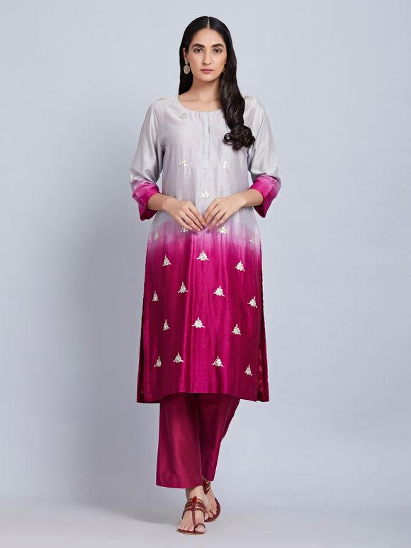 Grey Magenta Ombre Chanderi Silk Kurta with Cotton Silk Pants and Block Printed Dupatta - Set of 3