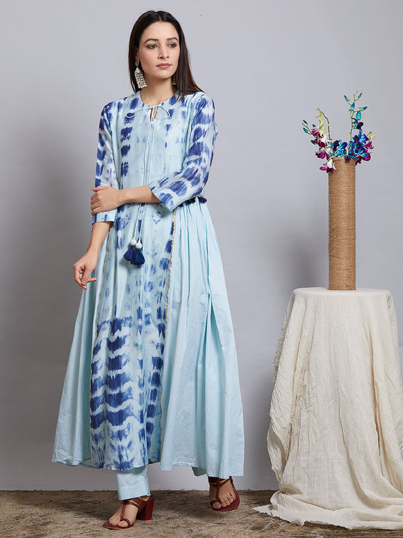 Blue Tie and Dye Chanderi Silk Kurta with Cotton Pants and Hand Block Printed Duaptta - Set of 3