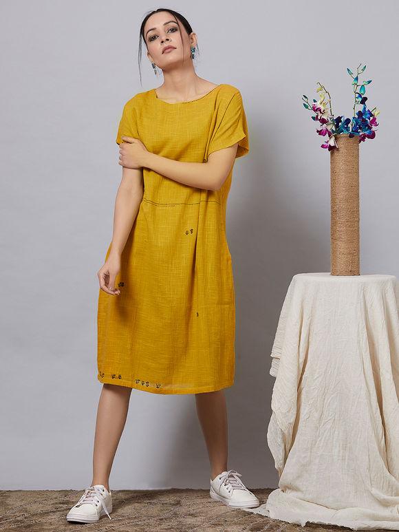 Mustard Yellow Cotton Slub Dress