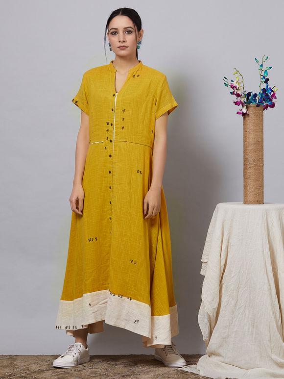 Mustard Yellow Cotton Slub Shirt Dress