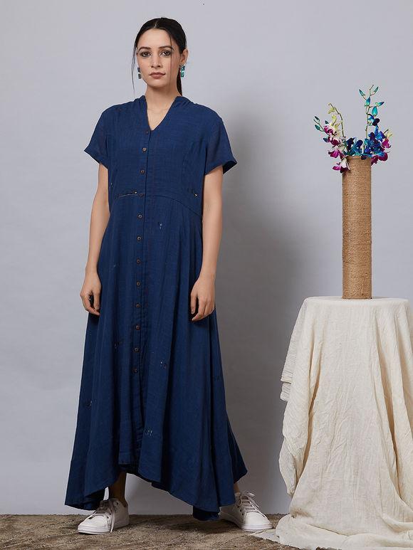 Navy Blue Cotton Slub Shirt Dress