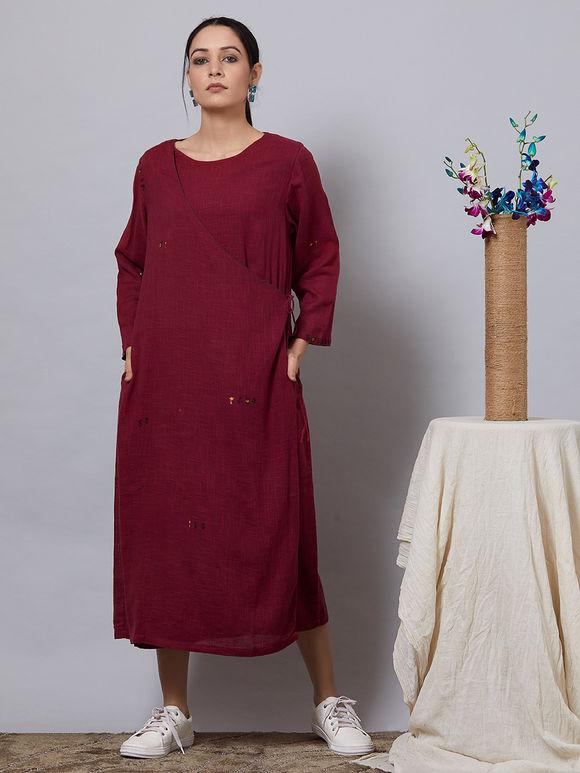 Maroon Cotton Slub Angrkha Dress