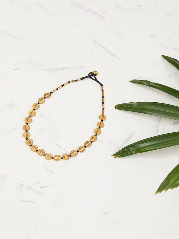 Gold Toned Handcrafted Brass Disc Choker
