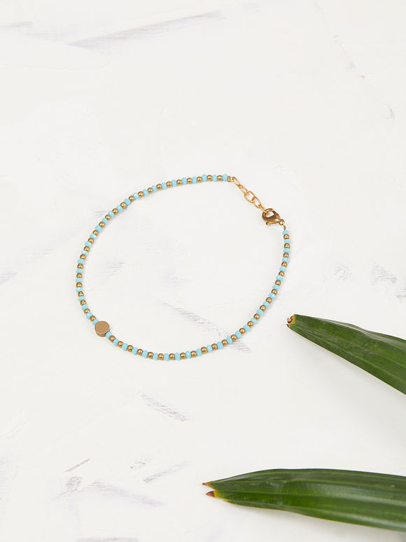 Turquoise Handcrafted Brass Beads Anklet