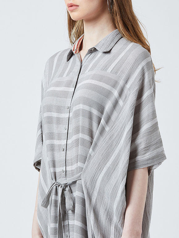 Grey Striped Cotton Kaftan